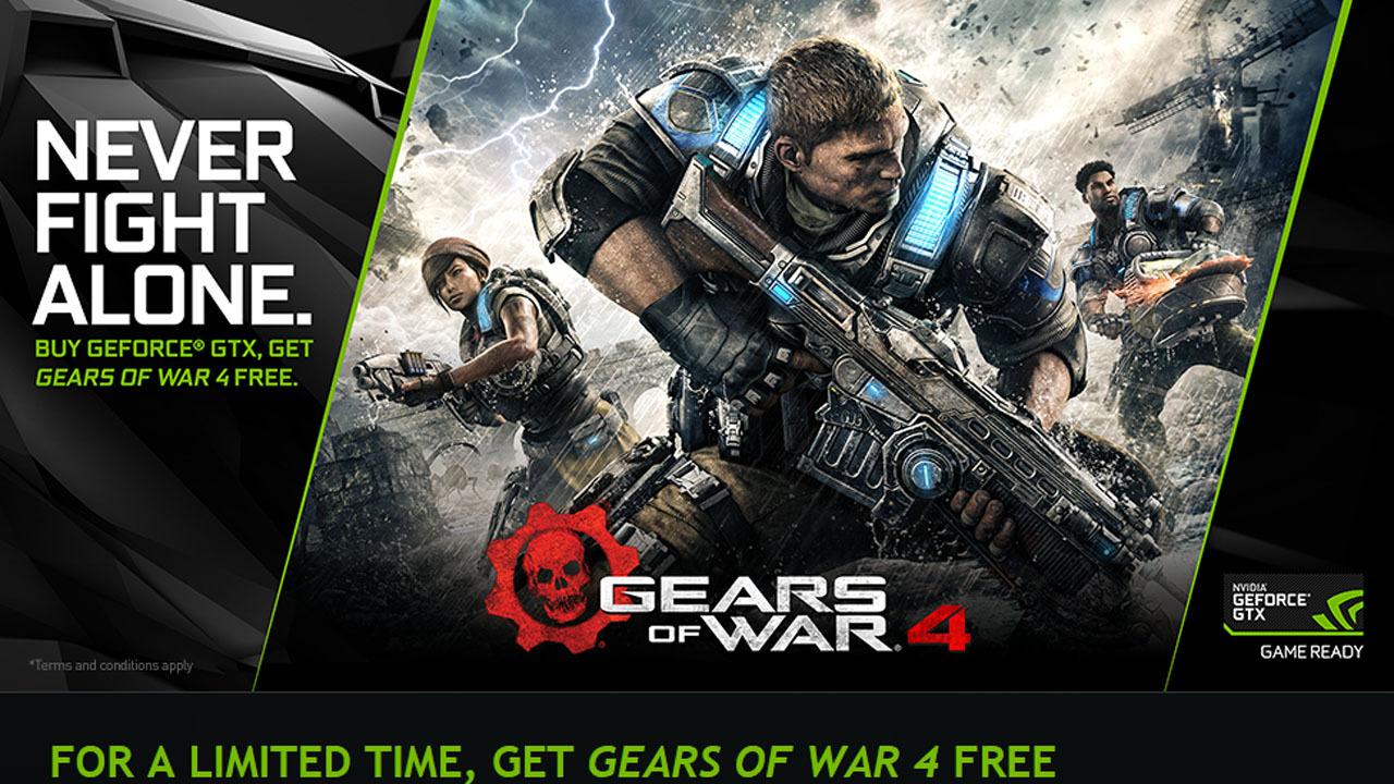 NVIDIA комплектует видеокарты GeForce GTX 1080/1070 игрой Gears ofWar 4