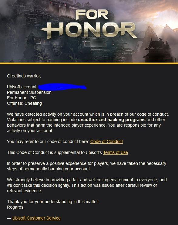 Защита отчитеров вFor Honor банит честных игроков