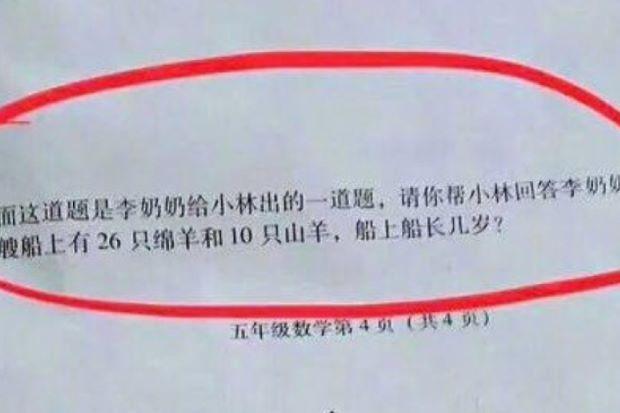 Китайская задача для пятиклассников вызвала споры вweb-сети интернет