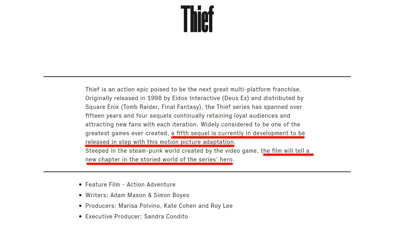 Новая Thief ифильм вразработке