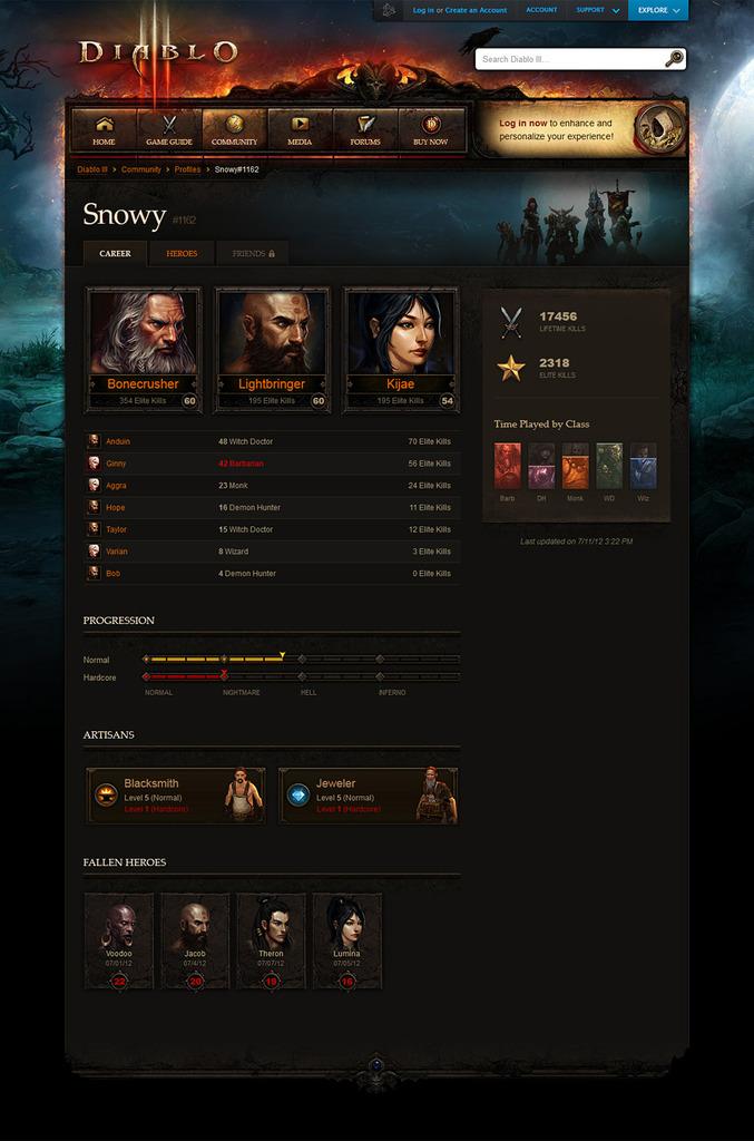 Blizzard запустила функционал профилей персонажей игры Diablo III