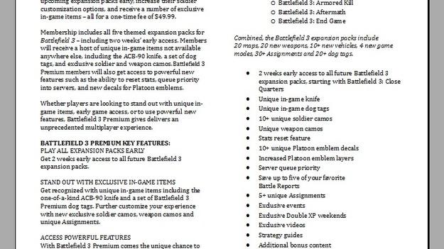 Игроки увидят сервис Battlefield Premium 4 июня?