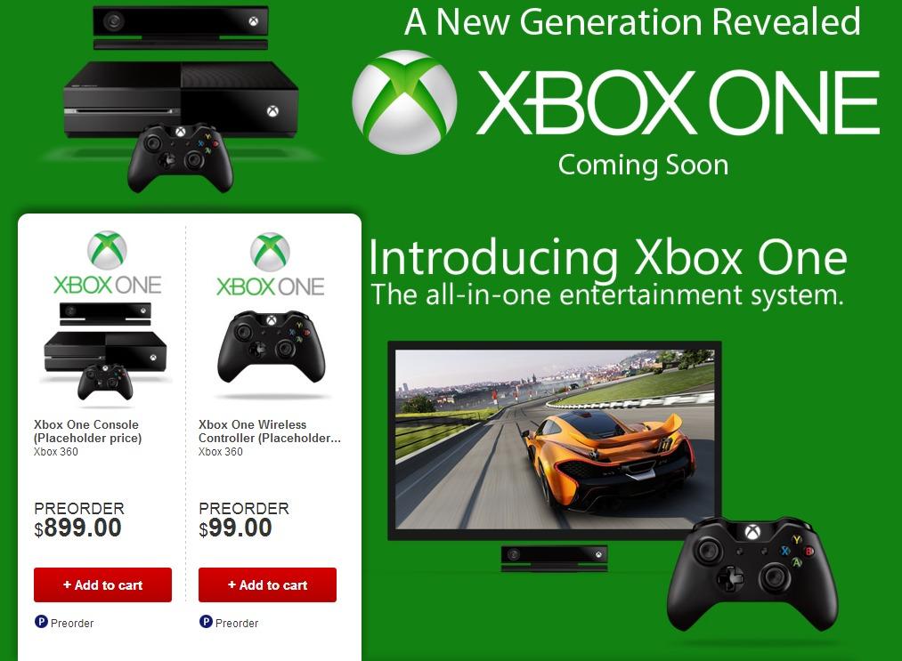 Xbox One обойдется игрокам в 899 долларов США