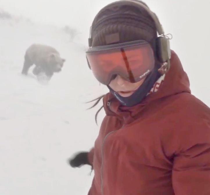 ВЯпонии сноубордистка сняла навидео гнавшегося заней медведя