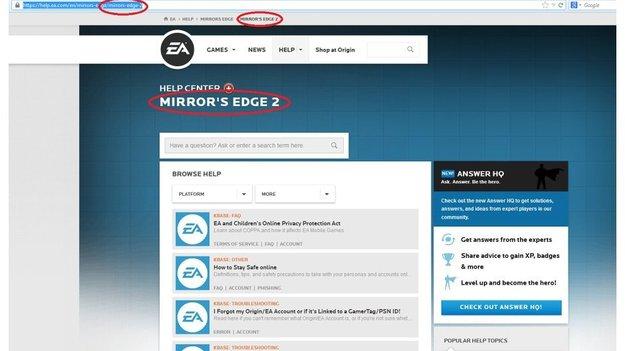 На формальном веб-сайте ЕА вышел центр помощи для игры Mirror'с Эдж 2