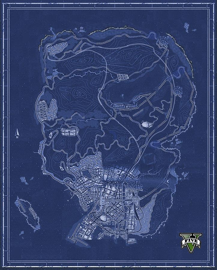 Поклонники GTA V по кускам собрали карту игрового мира