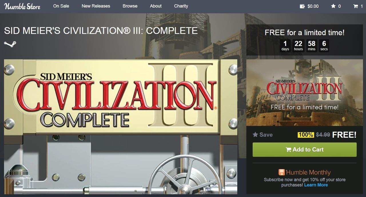 ВHumble Store можно бесплатно получить Sid Meier's Civilization 3: Complete