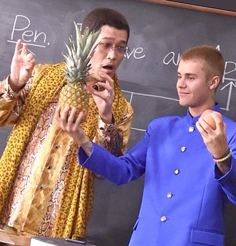 Джастин Бибер иавтор Pen-Pineapple-Apple-Pen снимались вяпонской рекламе