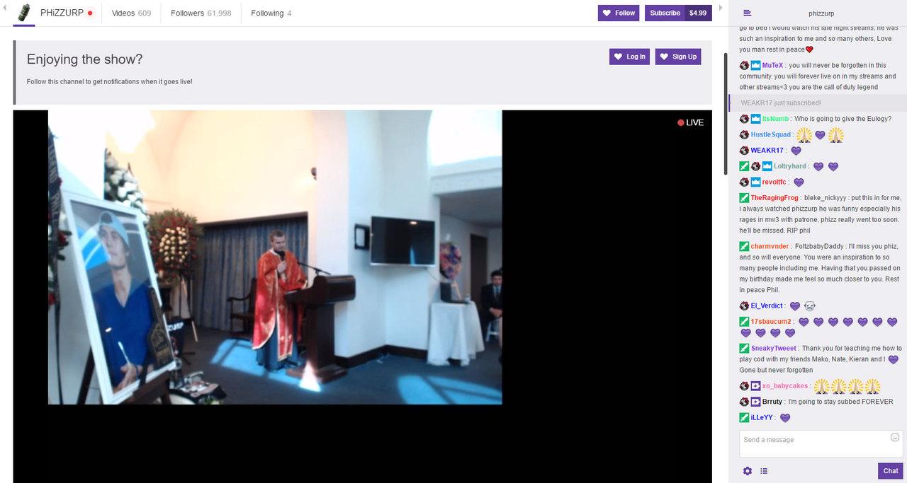 Девять тыс. пользователей наблюдали похороны геймера благодаря сервису Twitch