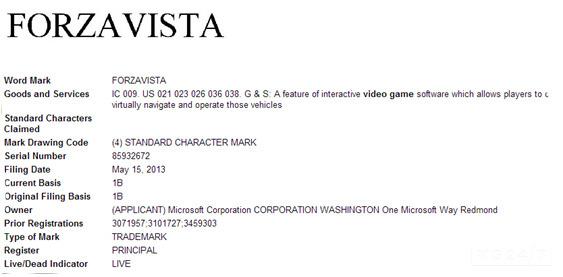 Майкрософт зарегистрировала свежую марку - Forza Виста